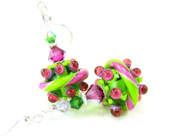 Neon Earrings, Pink & Green Glass Earrings, Funky Earrings, Lampwork Earrings, Fun Earrings, Drop Earrings, Dangle Earrings, Playful - Taffy