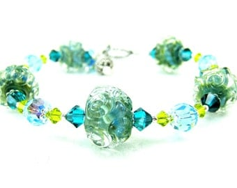 Green Blue Glass Bracelet, Boro Lampwork Bracelet, Contemporary Jewelry, Aqua Blue Teal Bracelet, Art Glass Jewelry - Caribbean Sea