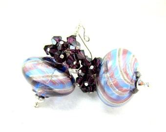 Purple Blue Earrings, Blown Glass Earrings,  Murano Earrings, Purple Crystal Earrings, Cluster Earrings, Beadwork Earrings - Shadow Stripes