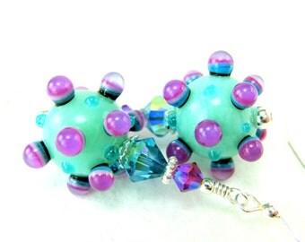 Bumpy Lampwork Earrings, Aqua Blue Purple Pink Earrings, Unusual Jewelry, Funky Glass Earrings, Dangle Earrings, Funky Earrings - Silliness