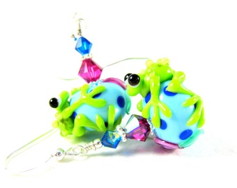 Green Frog Earrings, Frog Lampwork Earrings, Turquoise Blue Pink Green Glass Earrings, Animal Earrings, Colorful Earrings, Whimsical Jewelry