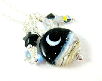 Moon Necklace, Moon & Star Necklace, Crescent Moon Lampwork Necklace, Celestial Necklace, Black White Charm Necklace, Moon Jewelry  Midnight