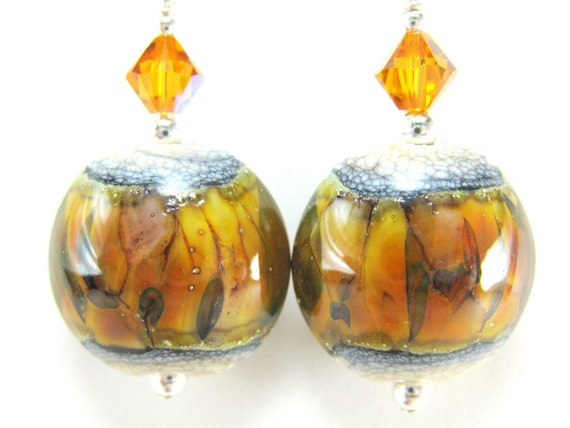 Lampwork Glass Earrings Amber Gold Topaz Crystal Sterling Silver - Autumn Gold