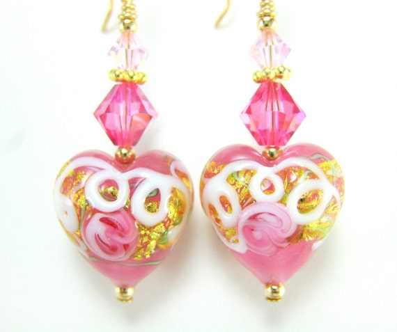 Earrings Rose Pink Heart Murano Wedding Cake Crystal 14k Gold Filled - Sweetheart