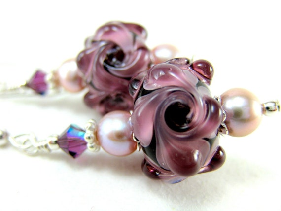 Purple Flower Earrings, Purple Lampwork Glass Bead Earrings, Mauve Pearl Sterling Silver - Purple Passion