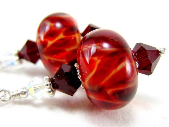 Garnet Red Boro Lampwork Earrings Crystal Sterling Silver - Fire Of Desire
