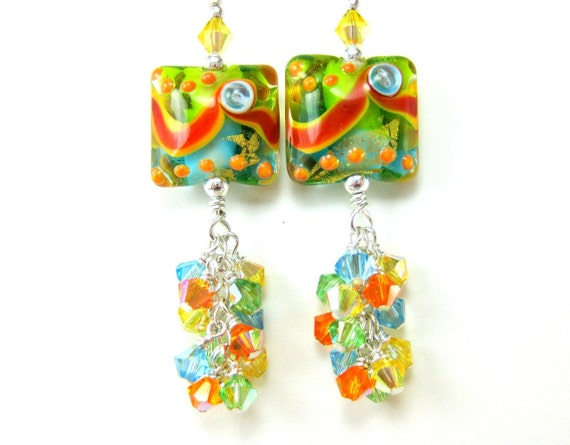 Colorful Glass Bead Dangle Earrings, Beadwork Earrings, Orange Yellow Aqua Green Lampwork Earrings, Glass Bead Earrings - Tropical Oasis