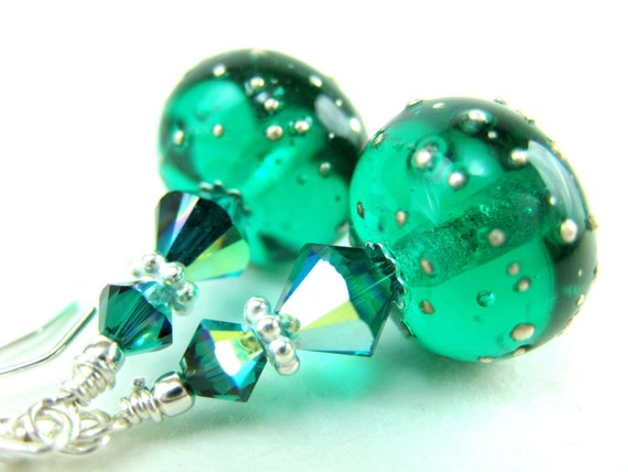 Green Glass Earrings, Emerald Green Lampwork Glass Bead Earrings, Green Earrings, Emerald Green Earrings - Emerald Isle