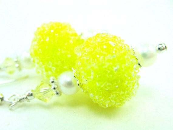 Yellow Glass Earrings, Lemon Yellow Sugar Lampwork Bead Earrings, Yellow Earrings, Lemon Earrings - Lemon Meringue