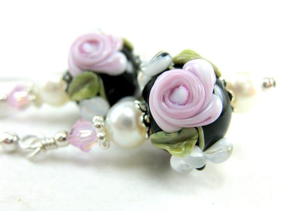 Pink Rose Earrings, Pink White Black Floral Lampwork Earrings, Pink Black White Glass Bead Earrings, Flower Earrings - Demure