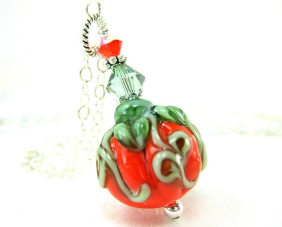 Pumpkin Necklace, Pumpkin Lampwork Necklace, Halloween Necklace, Pumpkin Jewelry, Halloween Jewelry, Orange Necklace - The Great Pumpkin