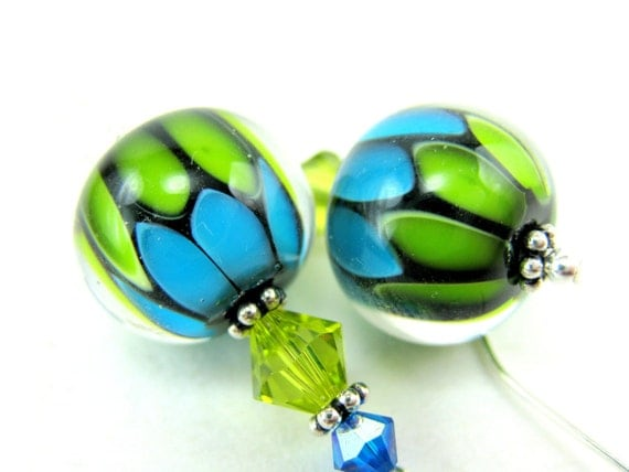 Green Blue Glass Bead Earrings, Lime Aqua Lampwork Earrings, Beadwork Earrings, Blue Green Earrings, Dangle Earrings - Electrifying