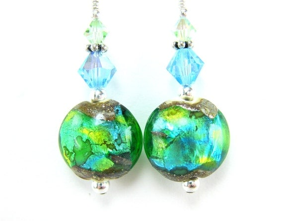 Aqua Blue Lime Green Glass Earrings, Green Aqua Blue Lampwork Earrings, Colorful Earrings, Green Glass Bead Earrings - Reflecting Pool