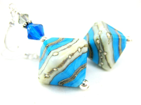 Turquoise Blue White Glass Earrings, Lampwork Earrings, Triangle Earrings, Blue Gray Earrings, Geometric Dangle Earrings - Rhythm and Blues