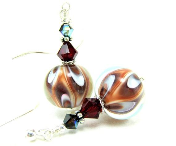 Chocolate Brown Glass Bead Earrings, Brown Rust Red White Lampwork Earrings, Brown and White Earrings - Hot Fudge Sundae