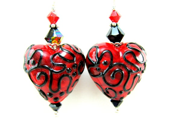 Red Black Heart Earrings, Valentine's Day Earrings, Heart Lampwork Glass Bead Earrings, Valentine Jewelry, Dangle Earrings - Red Hot Heart