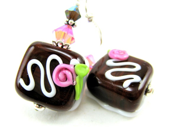 Chocolate Earrings, Candy Earrings, Brown Lampwork Earrings, Food Earrings, Candy Jewelry Dangle Earrings - Life Is Like A Box Of Chocolates