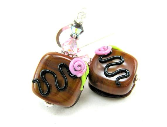 Milk Chocolate Earrings, Milk Chocolate Candy Lampwork Bead Earrings, Chocolate Glass Earrings, Candy Earrings - Chocolate Bon Bons