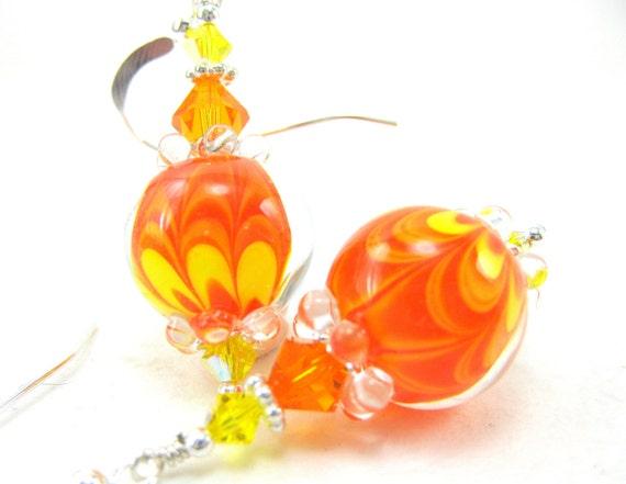 Orange Yellow Glass Earrings,  Bright Orange Yellow Lampwork Bead Earrings, Tangerine Earrings, Orange Earrings - A Splash of Sunshine