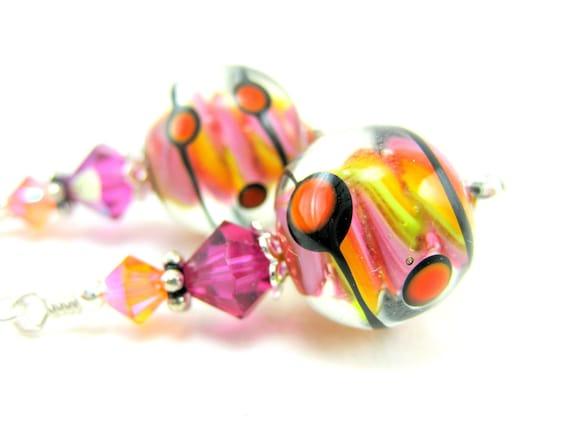 Pink Yellow Orange Glass Bead Earrings, Hot Pink Yellow Orange Polka Dot Lampwork Bead Earrings, Neon Earrings - Gum Ball Machine