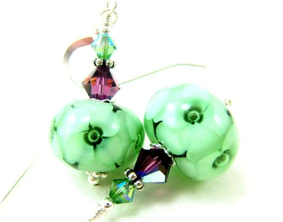 Green Flower Glass Bead Earrings, Emerald Mint Floral Lampwork Earrings, Green Flower Earrings, Mint Green Earrings - Scarborough Fair