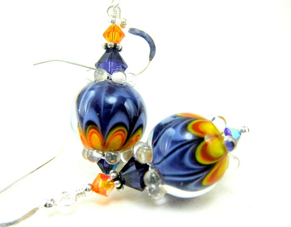 Purple & Orange Earrings, Colorful Glass Earrings, Lampwork Earrings, Dangle Earrings, Grape Purple Beadwork Earrings - Grape and Orange