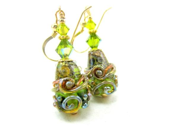Green Glass Bead Earrings, Olive Green Gold Lampwork Earrings, Fall Earrings, Gold Filled Earrings, Olive Green Earrings - Pine Trees