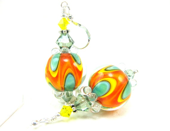 Orange Green Glass Earrings, Lampwork Earrings, Colorful Glass Earrings, Beadwork Earrings, Bright Colors, Dangle Earrings - Tropical Fruit