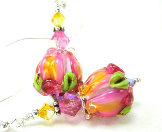 Pink Rose Earrings, Pink Yellow Rose Lampwork Earrings Pink Glass Rose Earrings - Pink Tea Roses