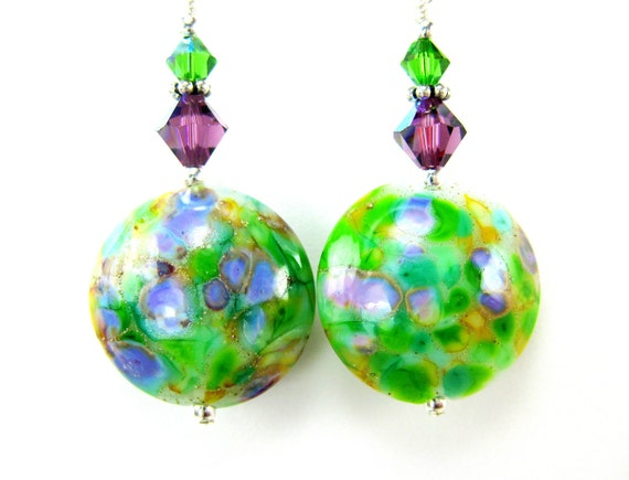 Green Purple Glass Bead Earrings, Kelly Green Purple Amber Lampwork Bead Earrings, Sterling Silver Earrings - Field of Wildflowers