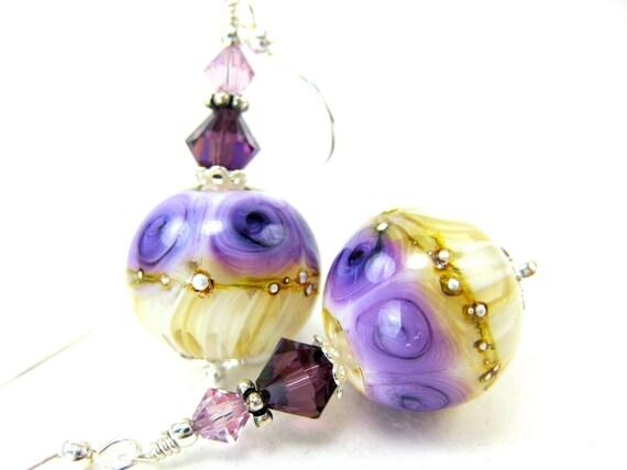 Purple White Earrings, Purple Rose Earrings, Beadwork Earrings, Floral Lampwork Earrings, Glass Bead Earrings, Dangle Earrings- Paper Roses