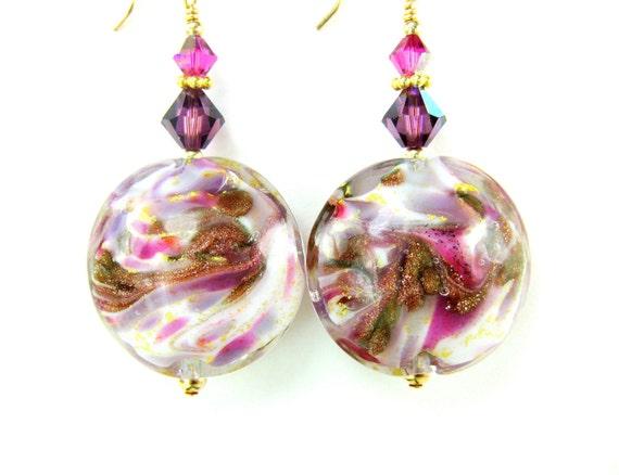 Pink Purple Venetian Glass Bead Earrings, Purple Violet Gold Pink Murano Glass Bead Earrings, 14K Gold Filled Earrings - Raspberry Ice Cream