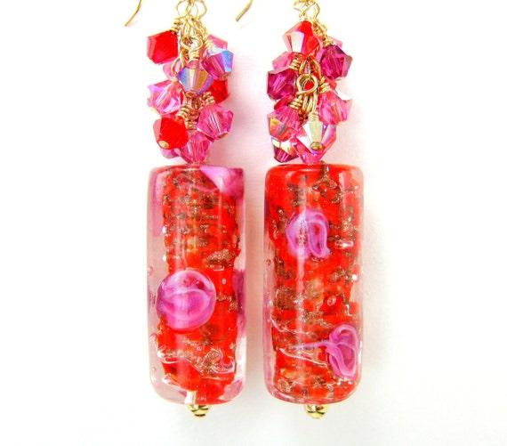 Red Pink Murano Glass Bead Earrings, Red Pink Gold Venetian Glass Bead Earrings, Red Earrings, Gold Filled Earrings - Swizzle Sticks