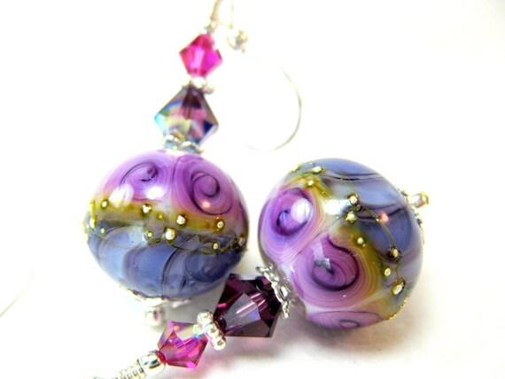 Lavender Purple Glass Bead Earrings, Floral Lampwork Earrings, Beadwork Earrings, Dangle Earrings, Purple Earrings - Pretty Purple Posies