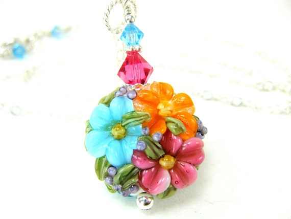 Colorful Flower Necklace, Floral Glass Bead Necklace, Pink Orange Turquoise Blue Lampwork Bead Necklace, Colorful Necklace - Happiness