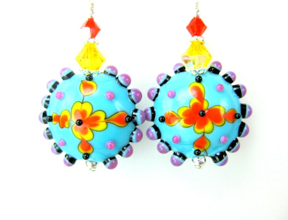 Colorful Glass Earrings, Bright Colorful Jewelry, Lampwork Earrings, Turquoise Blue Yellow Earrings, Dangle Earrings Fun Jewelry - Aztec Sun