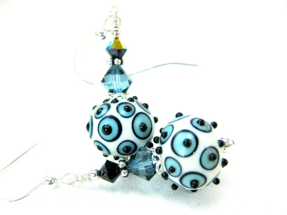 RESERVED  Blue White Black Earrings, Lampwork Earrings, Geometric Earrings, Beadwork Earrings, Glass Earrings, Modern Earrings Contemporary