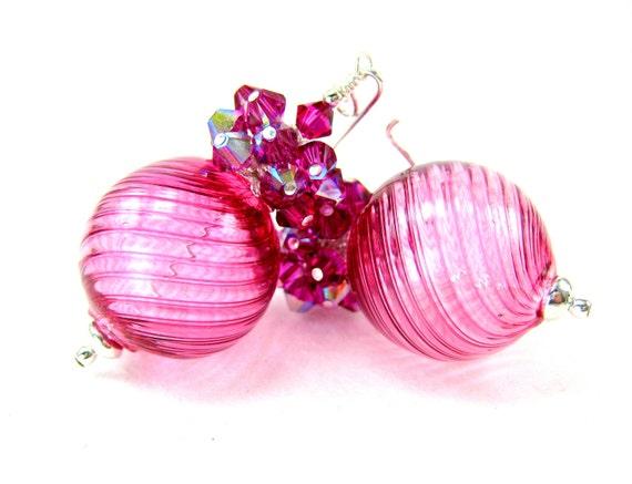 Blown Glass Earrings, Murano Glass Earrings, Hot Pink Earrings, Cluster Earrings, Fuchsia Earrings, Beadwork Earrings - Pomegranate Punch