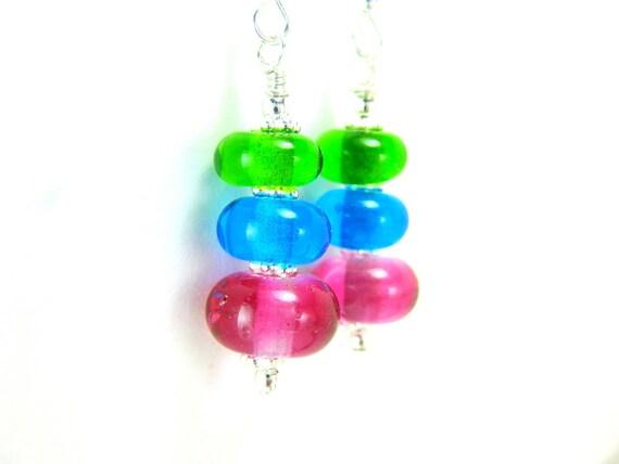 Neon Glass Bead Earrings, Pink Aqua Blue Green Lampwork  Earrings, Neon Earrings, Colorful Earrings - Fruit Loops