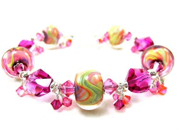 Hot Pink Orange Glass Bracelet, Fuchsia Orange Yellow Green Boro Lampwork Bracelet, Beadwork Bracelet, Colorful Bracelet - Bahama Mama