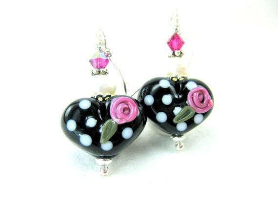 Heart Earrings, Black White Polka Dot Heart Earrings, Black White Pink LampworkEarrings, Beadwork Earrings, Glass Bead Earrings - Sock Hop