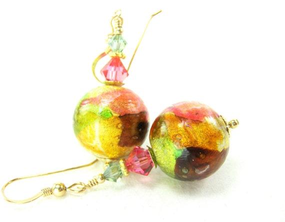 Pink Copper Green Venetian Glass Bead Earrings, Pink Green Copper Gold Murano Glass Bead Earrings, 14K Gold Filled Earrings - Patchwork