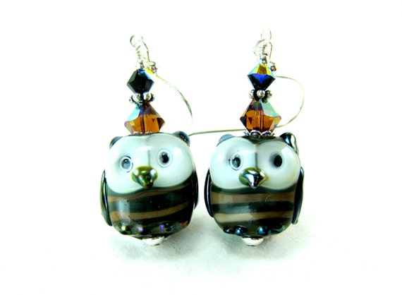 Owl Earrings, Brown Beige Owl Lampwork Bead Earrings, Owl Glass Bead Earrings, Bird Earrings - Bob & Joe