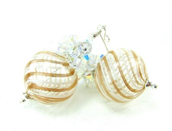 Gold White Murano Blown Glass Earrings, Crystal Cluster Earrings, Venetian Glass Earrings, Beadwork Earrings, Bridal Earrings - Elegance