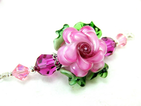 Pink Glass Rose Necklace, Hot Pink Floral Lampwork Necklace, Sterling Silver Necklace, Pink Glass Bead Necklace - Peony