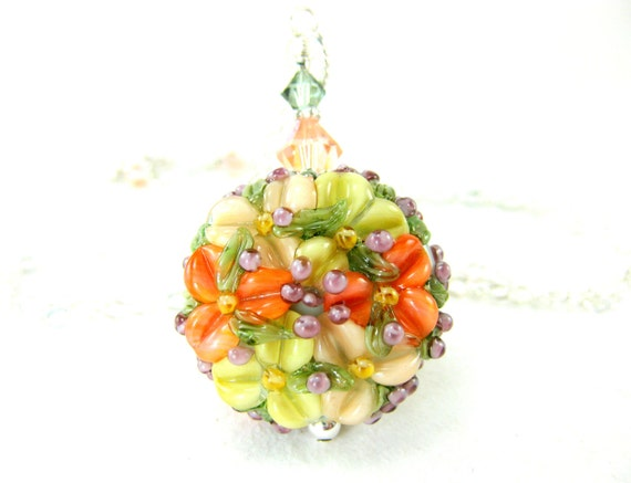 Peach Flower Necklace, Peach Floral Glass Necklace, Peach Yellow Coral Lampwork Necklace, Pastel Necklace, Summer Necklace - Spring Morning