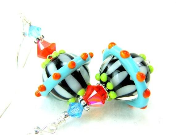 Neon Glass Bead Earrings, Blue Orange Black White Lampwork Bead Earrings, Neon Earrings, Funky Earrings - Tilt A Whirl