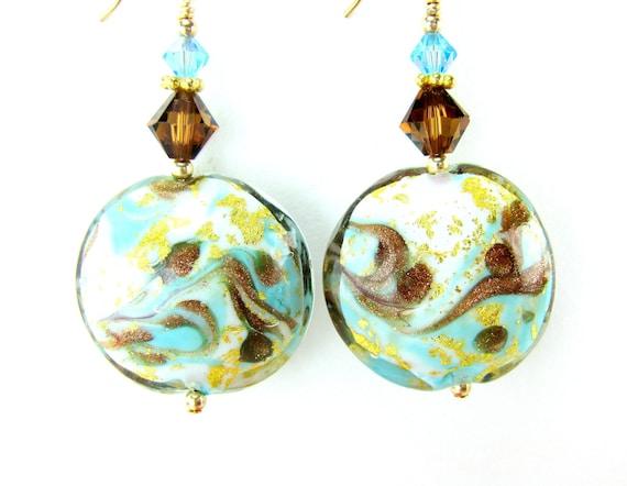 Aqua Blue Brown  Venetian Glass Bead Earrings, Turquoise Blue Brown Gold Murano Glass Bead Earrings, 14K Gold Filled Earrings - Thin Mints
