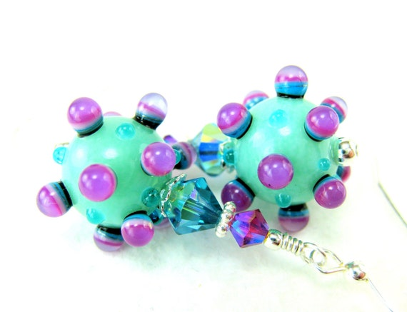 Bumpy Lampwork Earrings, Aqua Blue Purple Pink Earrings, Unusual Jewelry, Funky Glass Earrings, Dangle Earrings, Funky Earrings - Silliness