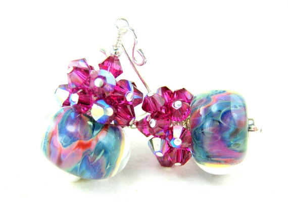 Colorful Glass Bead Earrings, Turquoise Blue Hot Pink Boro Lampwork Earrings, Rainbow Earrings, Turquoise Blue Earrings - Chasing Rainbows